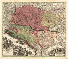 Hungary and Balkans Map By Matthaus Seutter
