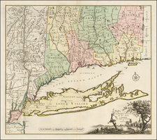 New England, Connecticut and New York State Map By Bernard Romans / Mortier, Covens & Zoon