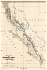 Mexico and Baja California Map By Augustus Herman Petermann