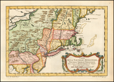 New England, Massachusetts, New York State, Mid-Atlantic, New Jersey and Pennsylvania Map By Jacques Nicolas Bellin