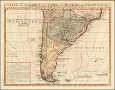 Argentina, Chile and Paraguay & Bolivia Map By Henri Chatelain