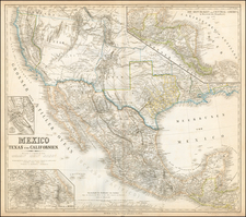 Texas, Plains, Southwest, Utah, Rocky Mountains, Utah, Mexico, Baja California, Central America and California Map By Heinrich Kiepert