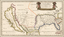 Florida, Southeast, Texas, Midwest and Southwest Map By Nicolas Sanson