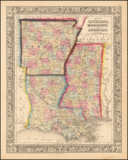Maine, Louisiana and Mississippi Map By Samuel Augustus Mitchell Jr.