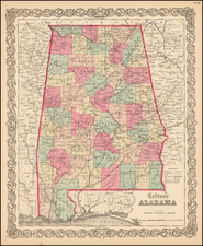 South and Alabama Map By Joseph Hutchins Colton