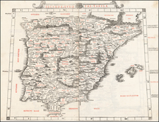 Spain, Portugal and Balearic Islands Map By Bernardus Sylvanus