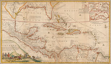 Florida, South, Southeast, Mexico, Caribbean, Central America and Colombia Map By Herman Moll  &  Robert Morden