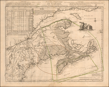 New England, Canada and Eastern Canada Map By Georges Louis Le Rouge