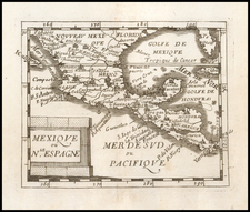 Florida, Texas, Southwest, Mexico and Central America Map By Pierre Du Val