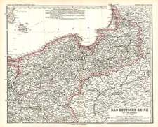 Europe, Germany and Baltic Countries Map By Adolf Stieler
