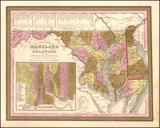 Maryland Map By Samuel Augustus Mitchell