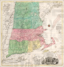 New England and Boston Map By Tobias Conrad Lotter / Bradock Mead