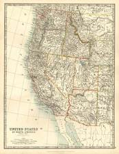 Southwest, Rocky Mountains and California Map By W. & A.K. Johnston