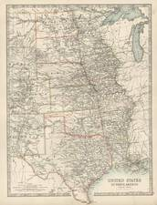 South, Texas, Midwest and Plains Map By W. & A.K. Johnston