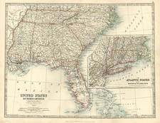 South and Southeast Map By W. & A.K. Johnston
