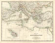Europe, Italy, Greece, Mediterranean and Balearic Islands Map By W. & A.K. Johnston
