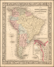 Central America and South America Map By Samuel Augustus Mitchell Jr.