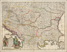 Hungary, Romania, Balkans, Croatia & Slovenia and Bulgaria Map By Frederick De Wit