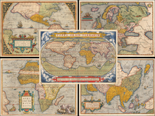 World, South America, Europe, Europe, Asia, Africa and America Map By Abraham Ortelius