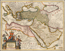 Turkey, Mediterranean, Middle East, Arabian Peninsula and Turkey & Asia Minor Map By Matthaus Merian