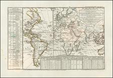World Map By Philippe Buache / Jean André Dezauche