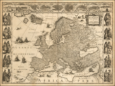 Europa recens descripta a Guiliel: Ianssonio 1617  (First State!) By Willem Janszoon Blaeu