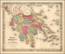 Greece Map By Joseph Hutchins Colton