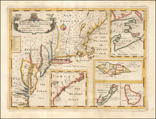 United States, New England, Mid-Atlantic, Canada and Caribbean Map By Edward Wells