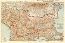 Serbia and Bulgaria Map By Augustus Herman Petermann