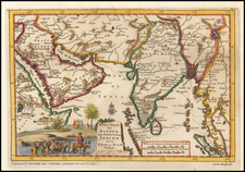 India, Southeast Asia and Middle East Map By Pieter van der Aa