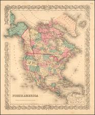 North America Map By Joseph Hutchins Colton