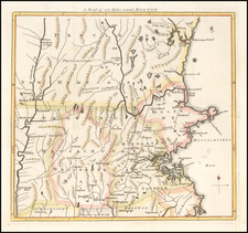 New England, Massachusetts and Boston Map By Gentleman's Magazine