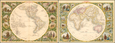 World, Eastern Hemisphere, Western Hemisphere, South America and America Map By John Tallis