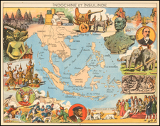 Southeast Asia, Philippines, Indonesia and Thailand Map By Joseph Porphyre Pinchon