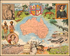 Australia and Pictorial Maps Map By Joseph Porphyre Pinchon