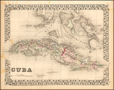 Caribbean and Cuba Map By Samuel Augustus Mitchell Jr.