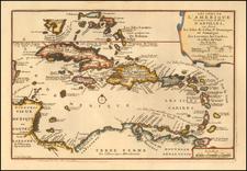 Caribbean and Bahamas Map By Nicolas de Fer