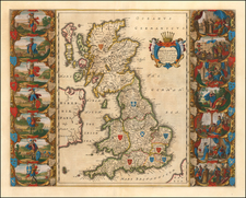 British Isles and England Map By Willem Janszoon Blaeu
