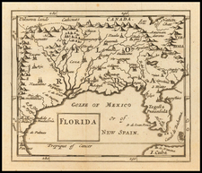 Florida, South, Southeast and Texas Map By Sir Jonas Moore