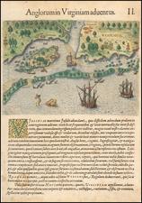 Southeast and North Carolina Map By Theodor De Bry