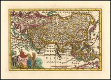 Asia Map By Adam Friedrich Zurner / Johann Christoph Weigel