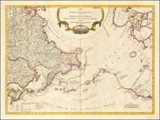Pacific Northwest, Alaska, Pacific, Russia in Asia and Canada Map By Thomas Jefferys