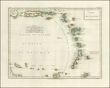 Caribbean and Other Islands Map By Pierre Antoine Tardieu