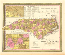 North Carolina Map By Samuel Augustus Mitchell