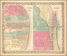 The City of St. Louis [with] The City of Chicago By Joseph Hutchins Colton