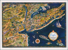 New York City, New York State, New Jersey and Pictorial Maps Map By Borden Co.