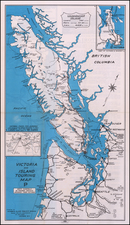 Washington and British Columbia Map By Victoria & Island Publicity Bureau