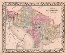 Washington, D.C. Map By Samuel Augustus Mitchell Jr.