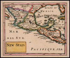 Florida, Texas and Mexico Map By Sir Jonas Moore