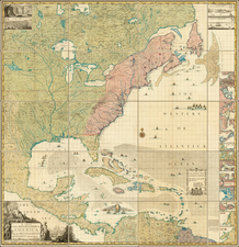 United States, North America and Atlases Map By Henry Popple